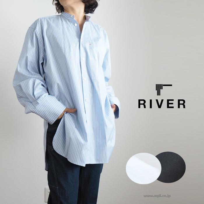 RIVER リバー ロング長袖シャツ バンドカラー レディース