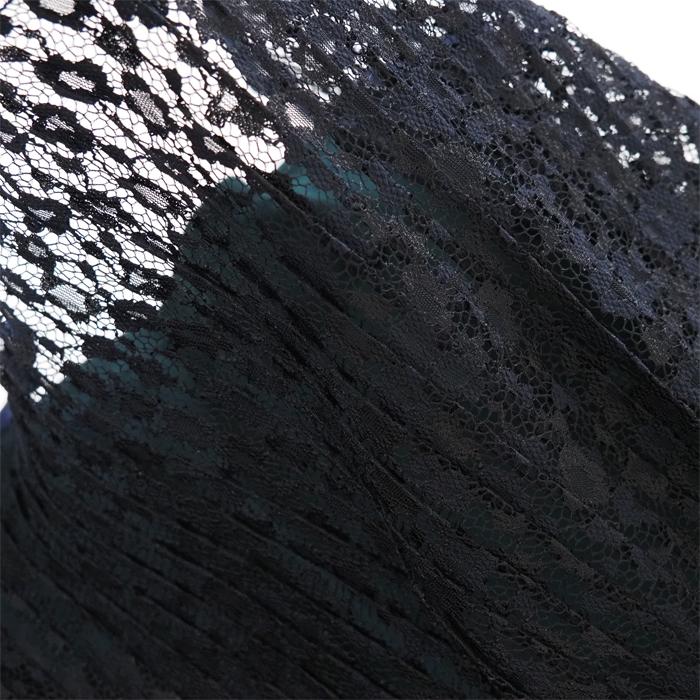 THURIUM スリウム プリーツレースカットソーブラウス レディース