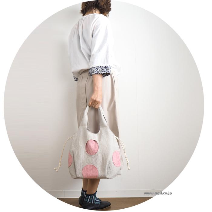 TOMOO DESIGNS (トモオデザインズ) ドット柄 布トートバッグ 巾着口 スプラッシュバッグ レディース