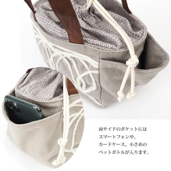 TOMOO DESIGNS トモオデザインズ 巾着口ミニハンドバッグ 布製 レディース
