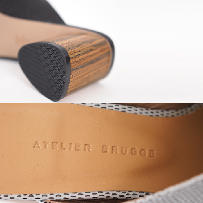 ATELIER BRUGGE アトリエブルージュ ピープトゥ 本革クロスミュール レディース