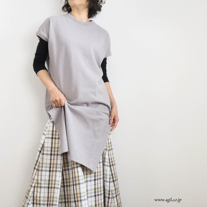 Squady (スカディ) クルーネック ロング丈チュニックカットソー レディース