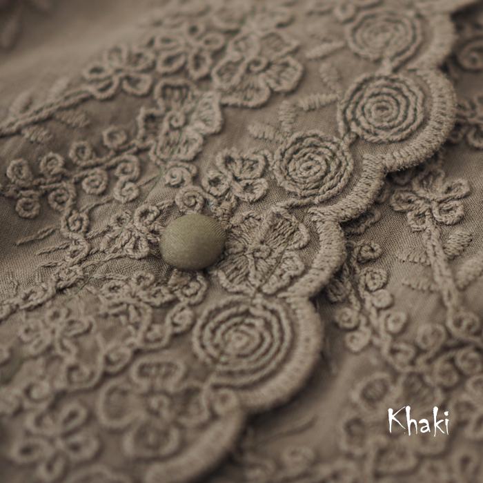 MIDIUMISOLID ミディウミソリッド カットワーク刺繍 コットンブラウス レディース