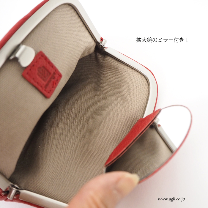 mononogu (もののぐ) ミラー付 ポーチ 山羊革 ゴートレザー 日本製 レディース