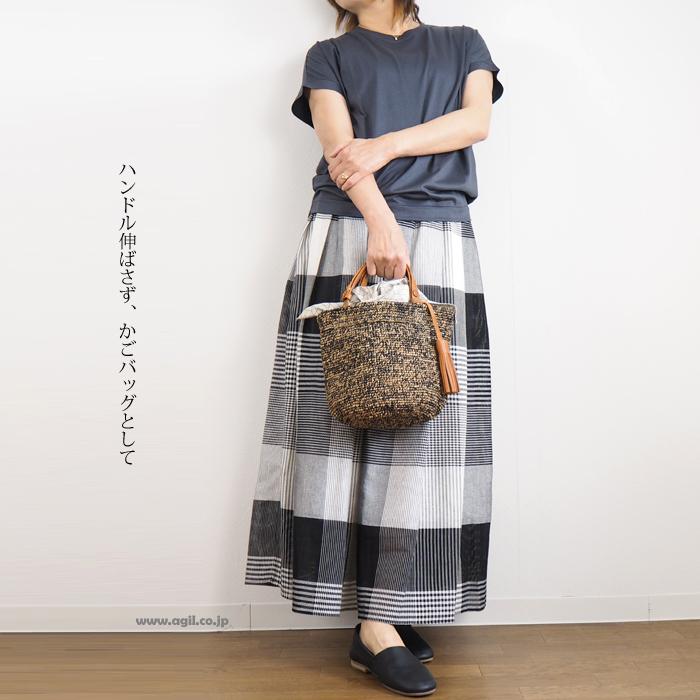 mononogu (もののぐ) バケット型トートかごバッグ マダガスカルラフィア 日本製 レディース