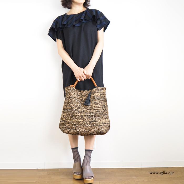 mononogu (もののぐ) ワンハンドルトートバッグ マダガスカルラフィア 日本製 レディース