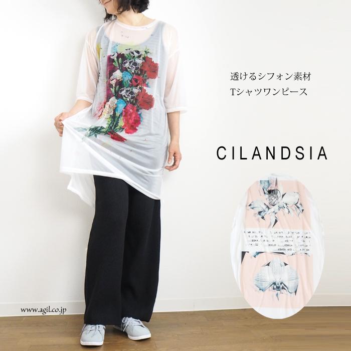 CILANDSIA(チランドシア) シースルーラウンドネック チュニックカットソー レディース メンズ