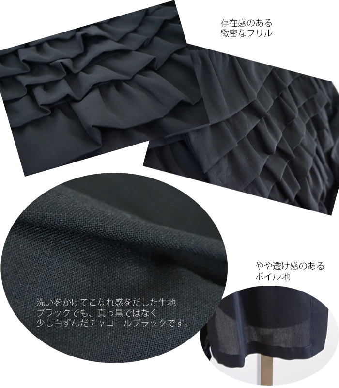 FERAL FLAIR VISIONAIRE (フィラルフレア ヴィジョネア) コットンボイル フリルジャケット チャコールブラック レディース