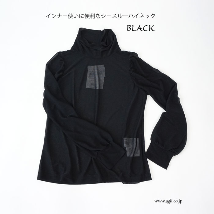 FERAL FLAIR (フィラルフレア) シースルー ハイネック 長袖プルオーバー ブラック レディース