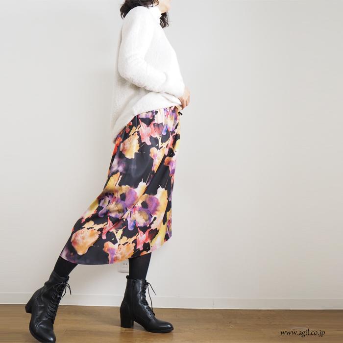 CILANDSIA(チランドシア) 柄物 巻き ラップスカート ミモレ丈 0117 レディース