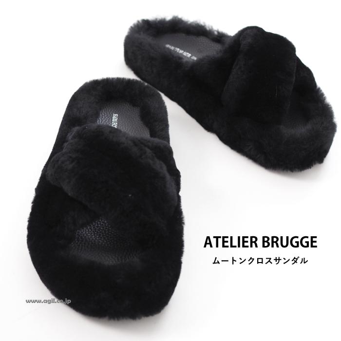 ATELIER BRUGGE アトリエブルージュ ムートンクロスサンダル ブラック レディース