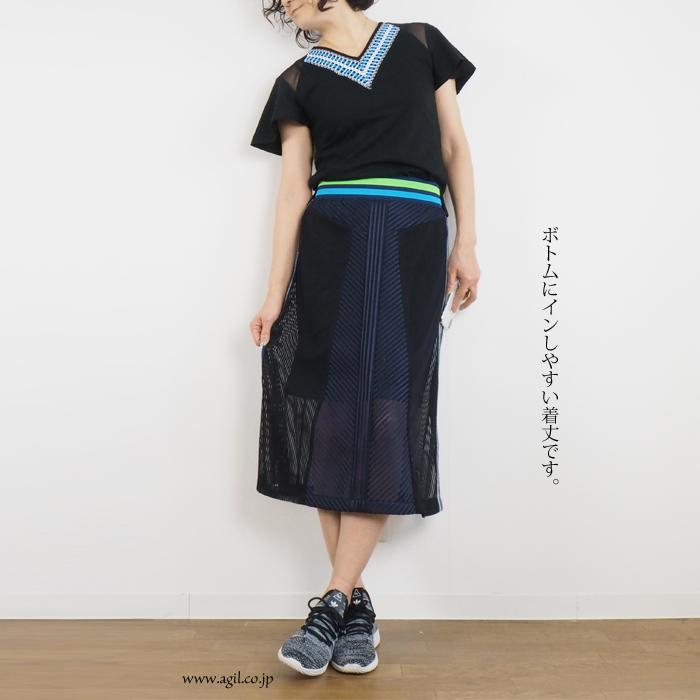 HISUI HIROKOITO (ヒスイヒロコイトウ) Vネック プルオーバーカットソー ブラック ネイビー レディース