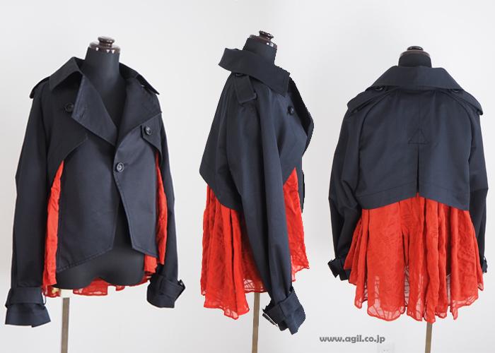 HISUI HIROKOITO ヒスイヒロコイトウ ショート トレンチジャケット 異素材使い レディース