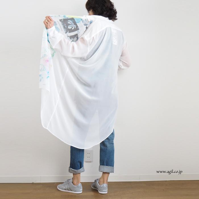 CILANDSIA(チランドシア) シースルーシフォン アシンメトリーロングシャツ チュニック丈 レディース メンズ