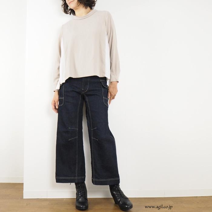 isato design works (イサトデザインワークス)  バックプリーツ フレアーブラウス 長袖 レディース