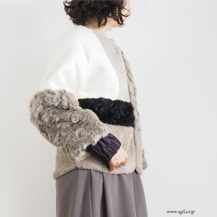 isato design works (イサトデザインワークス)  切替え ショートボアコート ミルク レディース