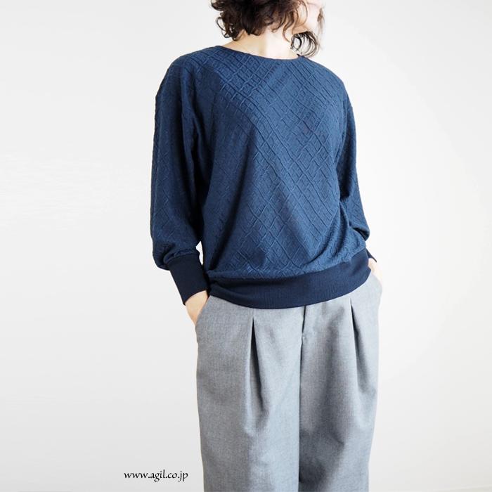 isato design works (イサトデザインワークス)  ラウンドネック ジャガードプルオーバー カットソー レディース