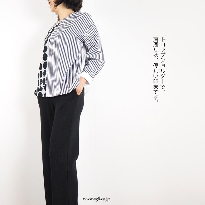 isato design works (イサトデザインワークス)  パッチワーク 長袖ノーカラーシャツ レディース