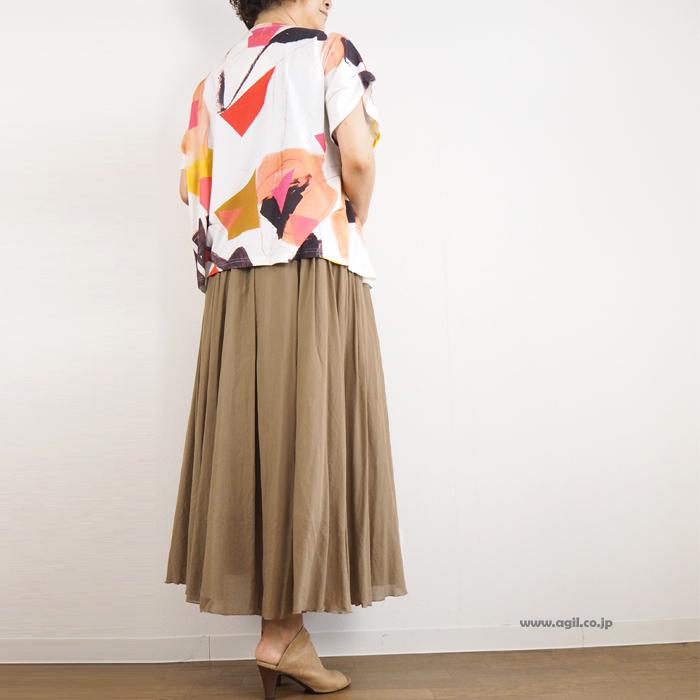 isato design works (イサトデザインワークス) ラウンドネックプリント半袖カットソー レディース
