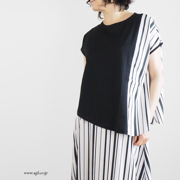 isato design works イサトデザインワークス 半袖カットソー マルチストライプ切替 レディース