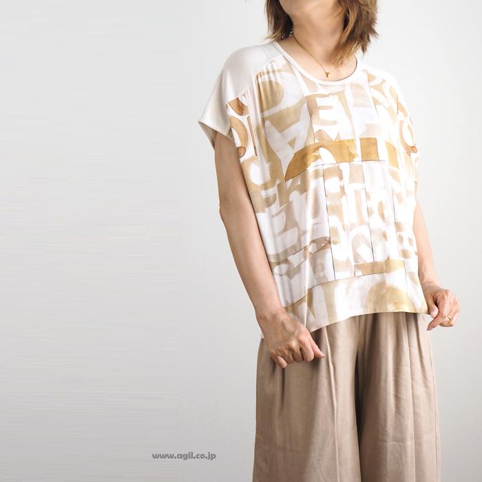 isato design works イサトデザインワークス プルオーバー プリント ラウンドネックカットソー レディース