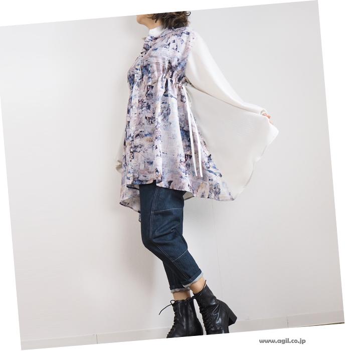 CILANDSIA チランドシア マオカラー ロングプリントシャツ レディース メンズ