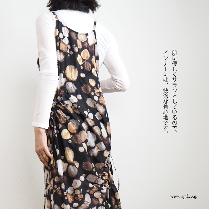 RIVER (リバー) クルーネック 長袖Tシャツ 強撚コットン ホワイト ブラック モスグリーン レディース