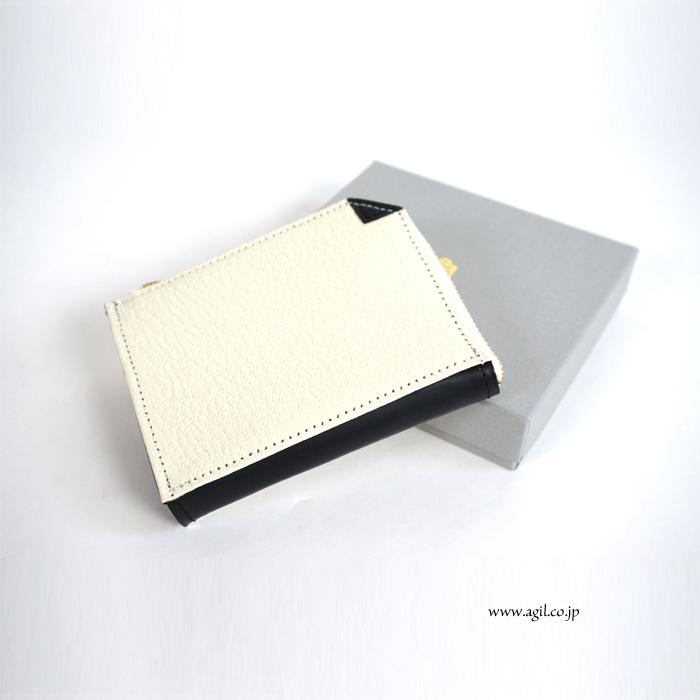 mononogu (もののぐ) ミニ財布 L字ファスナー ゴートシュリンクx牛革スムース レディース