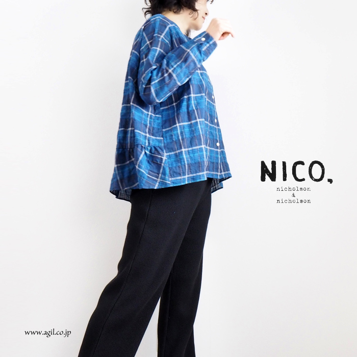 NICO,nicholson & nicholson (ニコ,ニコルソンアンドニコルソン) バックギャザーヘム フレアーライン ブラウス チェック柄 レディース