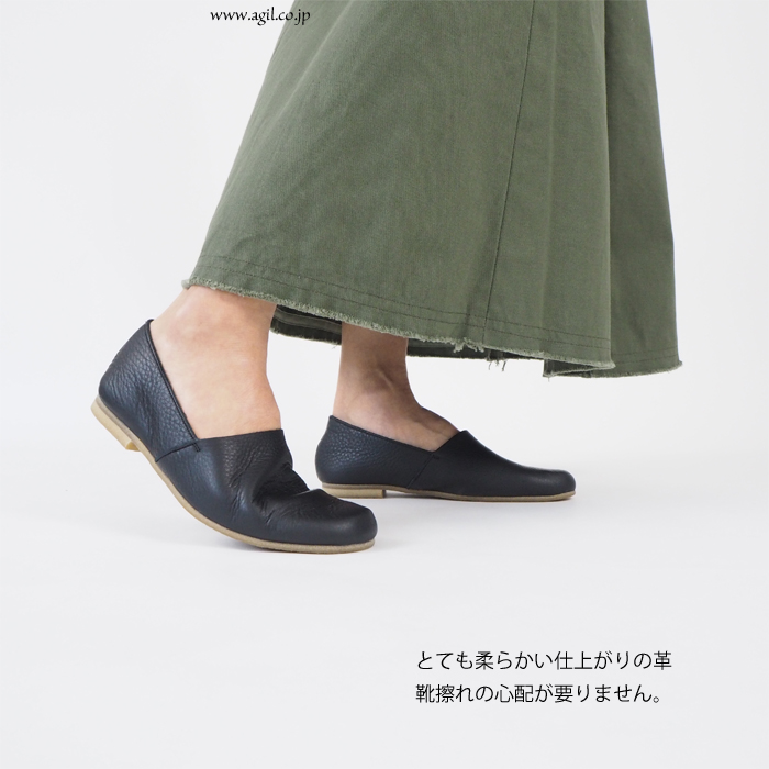 REN (レン) 防水レザー スリッポン シューズ レディース